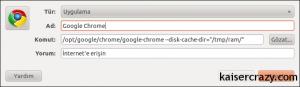 Chrome İçin Önbellek alanı değiştirmek
